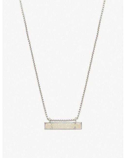 Kendra Scott - Metallic Leanor Rhodium Plated Iridescent Drusy Bar Pendant Necklace - Lyst