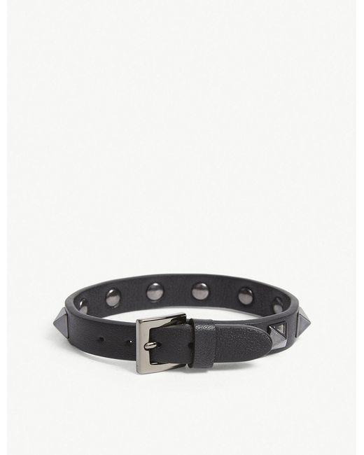 Valentino - Black Leather Studded Bracelet for Men - Lyst