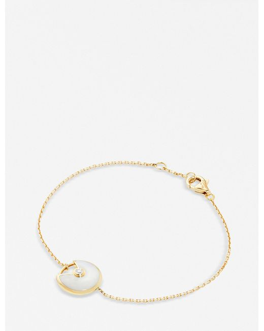 Cartier - Amulette De 18ct Yellow-gold And White Mother-of-pearl Bracelet - Lyst