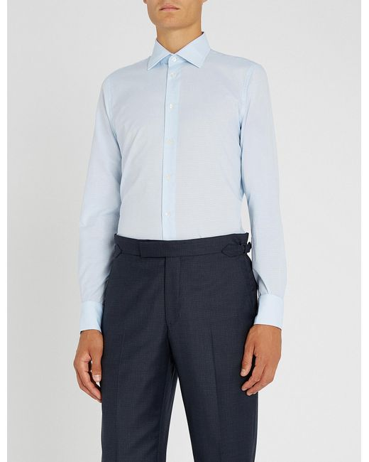 Richard James - Blue Dotted Slim-fit Cotton Shirt for Men - Lyst