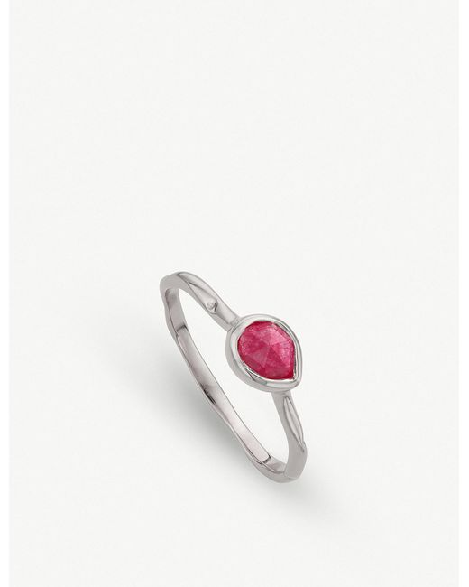 Monica Vinader - Siren Sterling Silver And Pink Quartz Small Stacking Ring - Lyst