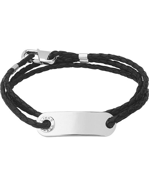 Links of London | Black Soho Id Leather And Sterling Silver Bracelet | Lyst