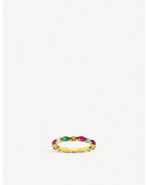 Thomas Sabo Metallic Riviera 18ct Yellow-gold And Coloured Stone Infinity Ring