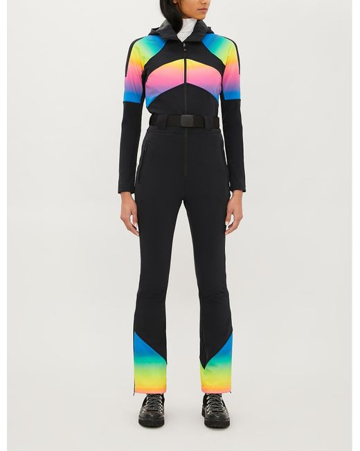 Perfect Moment Black Tignes Chevron-stipe Flared Shell Ski Suit
