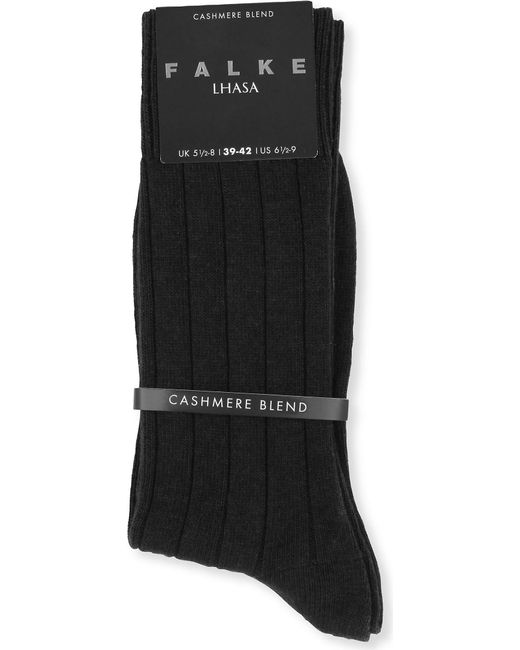Falke Men's Black Lhasa Ribbed Socks for men