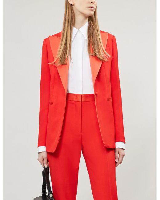 Joseph Red Satin-trimmed Wool Tuxedo Jacket