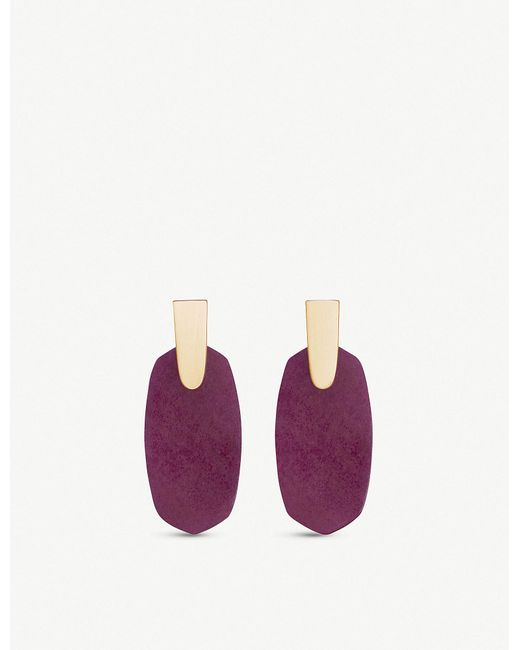 Kendra Scott - Purple Aragon 14ct Rose Gold-plated And Maroon Jade Drop Earrings - Lyst