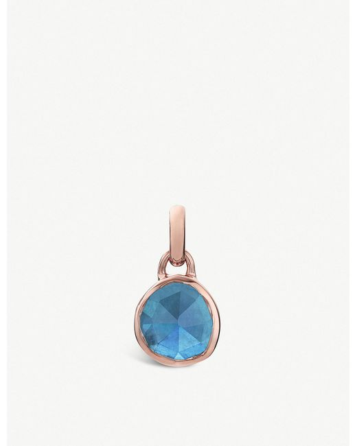 Monica Vinader - Blue Siren Mini 18ct Rose-gold Vermeil And Kyanite Bezel Pendant - Lyst