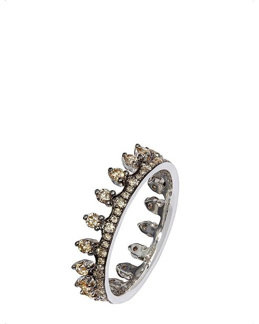 Annoushka | Metallic 18ct White Gold And Brown Diamond Crown Ring | Lyst