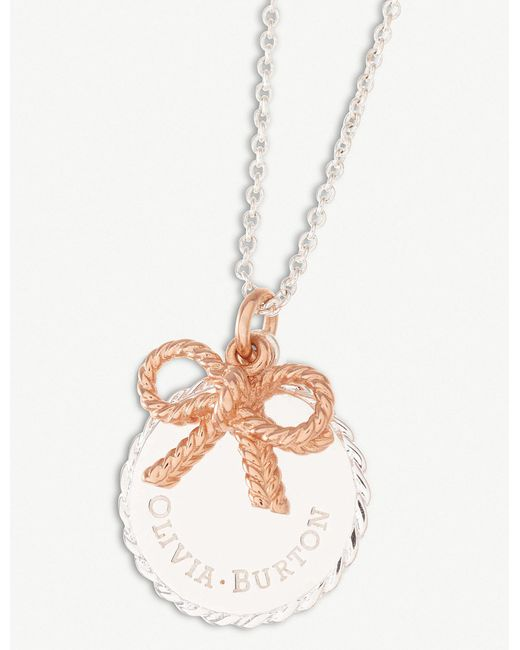 Olivia Burton - Metallic Vintage Coin And Bow Silver And 18ct Rose-gold Necklace - Lyst