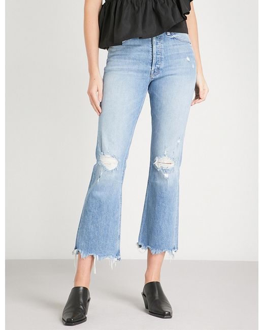 Mother - Blue The Tripper Ankle Slim-fit Flared High-rise Jeans - Lyst