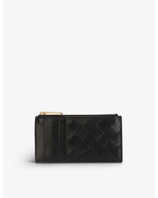 Bottega Veneta Black Intrecciato Leather Cardholder