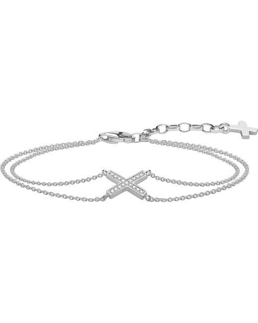 Thomas Sabo - Metallic Classic X Sterling Silver And Zirconia Bracelet - Lyst