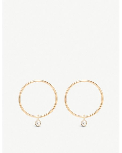 The Alkemistry - Metallic Zoë Chicco 14ct Yellow-gold And Diamond Circle Hoop Earrings - Lyst