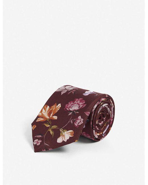 Ted Baker Red Floral Silk Tie for men