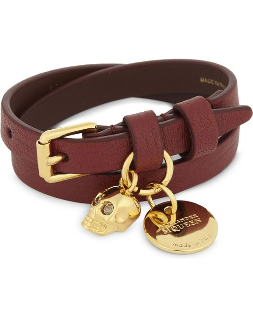 Alexander McQueen - Multicolor Double-wrap Skull Leather Bracelet - Lyst
