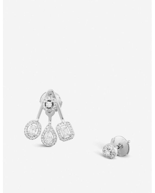 Messika My Twin Trio 18ct White-gold And Diamond Earrings