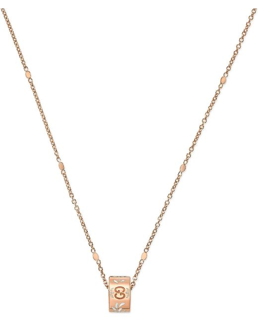 Gucci - Metallic Icon Blossom 18ct Rose Gold Necklace - Lyst