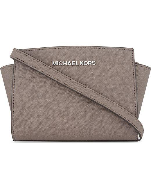 MICHAEL Michael Kors   Gray Selma Mini Leather Messenger Bag   Lyst