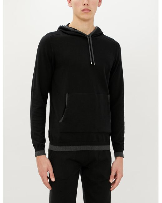 Zimmerli Black Cotton And Cashmere-blend Hoody for men
