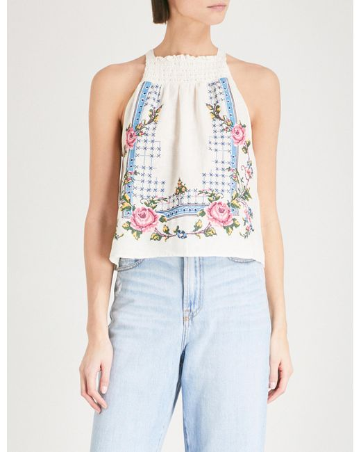 Free People - White Embroidered Linen Halterneck Top - Lyst