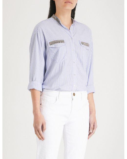 The Kooples - Blue Striped-pattern Textured Shirt - Lyst