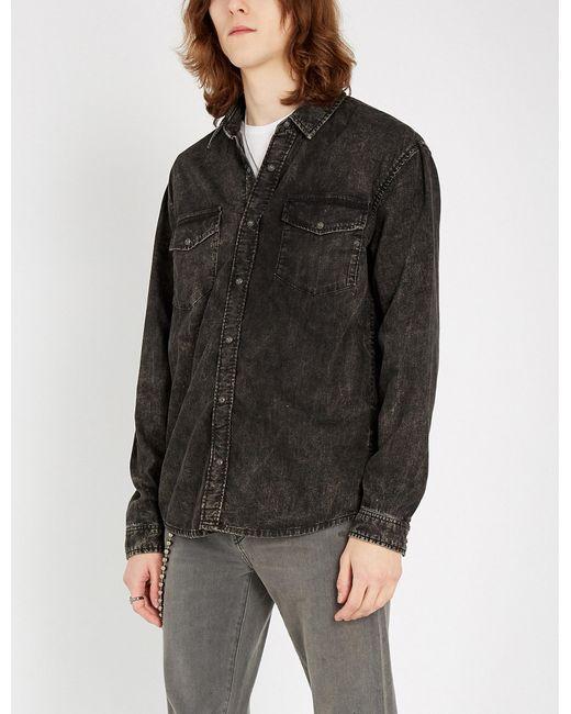 f9b95f864a Lyst - The Kooples Faded Wash Denim Shirt in Black for Men