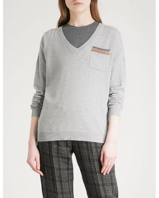 c0f950f568 Brunello Cucinelli Pocket-detail Cashmere Jumper in Gray - Lyst