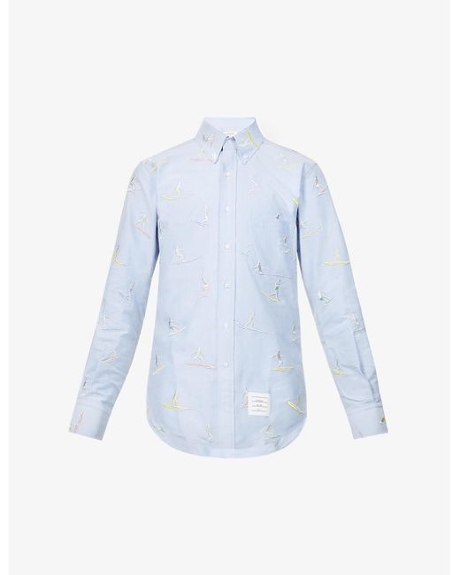 Thom Browne Blue Surfer Graphic-pattern Cotton Shirt for men