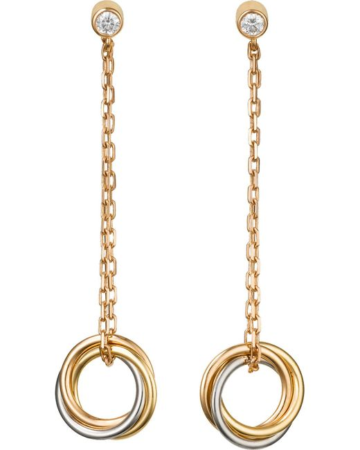 Cartier | Metallic Sweet Trinity 18ct Gold And Diamond Earrings | Lyst