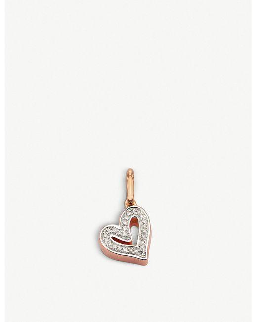 Monica Vinader - Metallic Alphabet Heart 18ct Rose-gold Vermeil And Diamond Pendant - Lyst