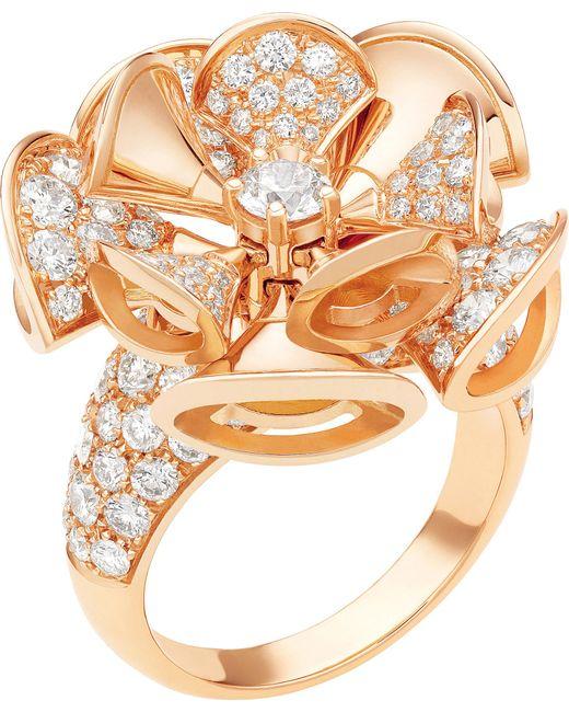 BVLGARI | Divas' Dream 18kt Pink-gold And Diamond Ring | Lyst