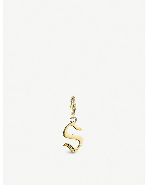 Thomas Sabo - Letter S 18ct Yellow Gold-plated Charm - Lyst