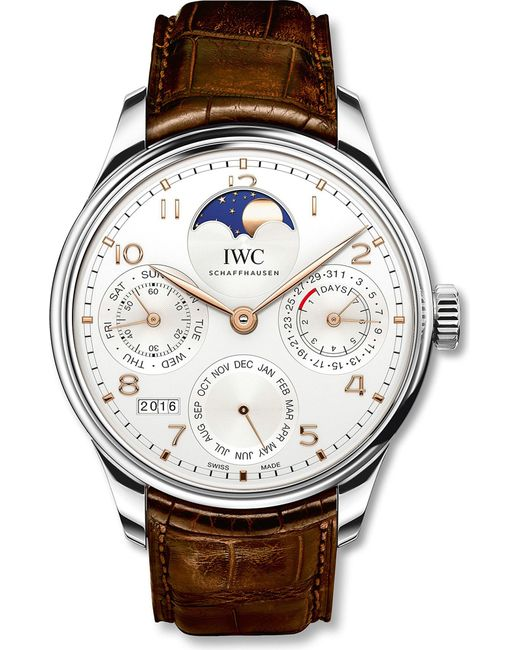 Iwc - Iw503302 Portugieser White Gold And Alligator Leather Watch - Lyst