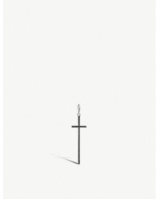 Thomas Sabo - Metallic Charm Club Cross Sterling Silver And Black Zirconia Charm - Lyst