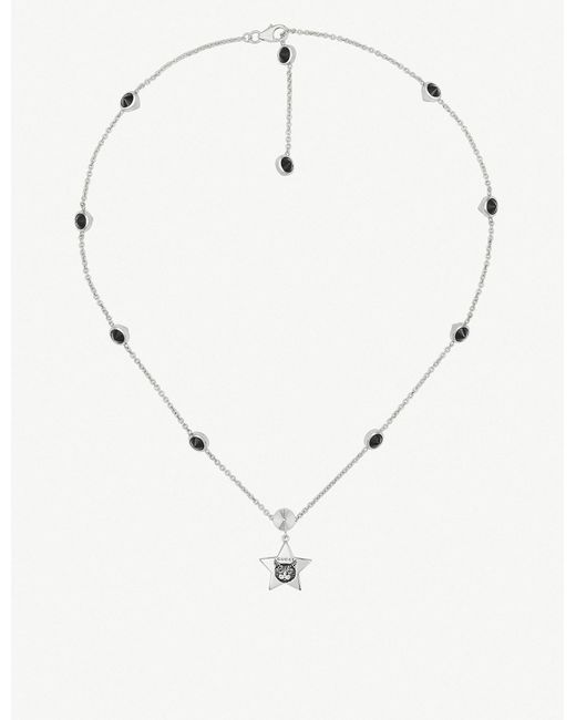 Gucci - Metallic Blind For Love Cat-engraved Sterling Silver And Black Spinels Necklace - Lyst