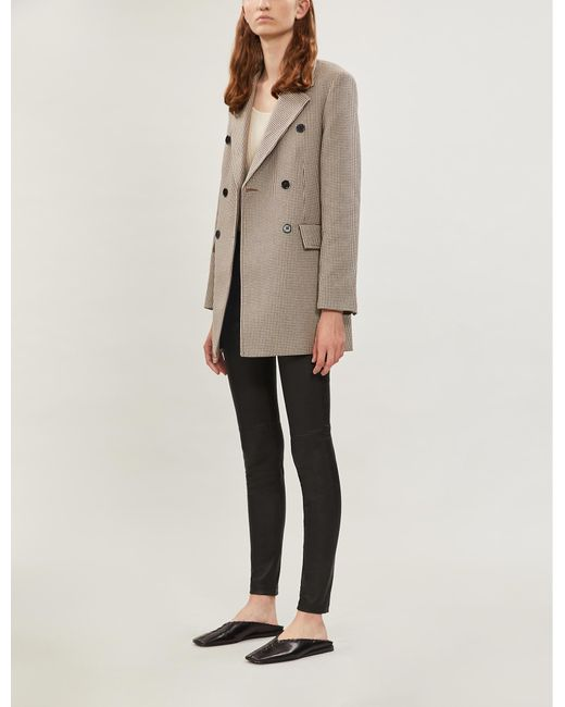 Maje Natural Houndstooth Double-breasted Twill Blazer