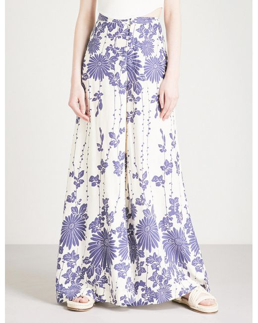 Free People - White Wide Legged Floral Print Trousers - Lyst