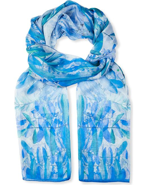 BEATRICE JENKINS - Blue Hurlingham Palm Silk Scarf - Lyst