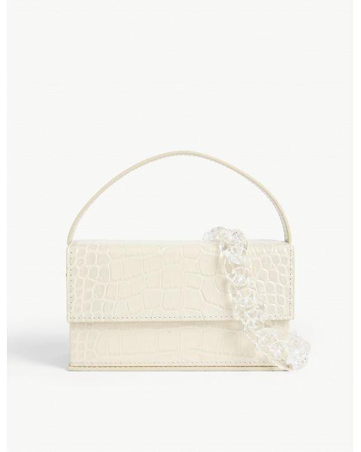 L'afshar Natural Ida Croc-embossed Leather Bag