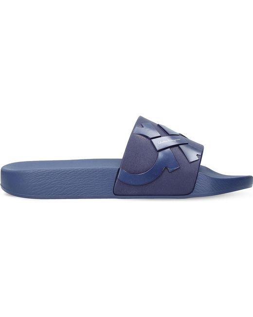 Ferragamo | Blue Gancho Rubber Slide Sandals for Men | Lyst
