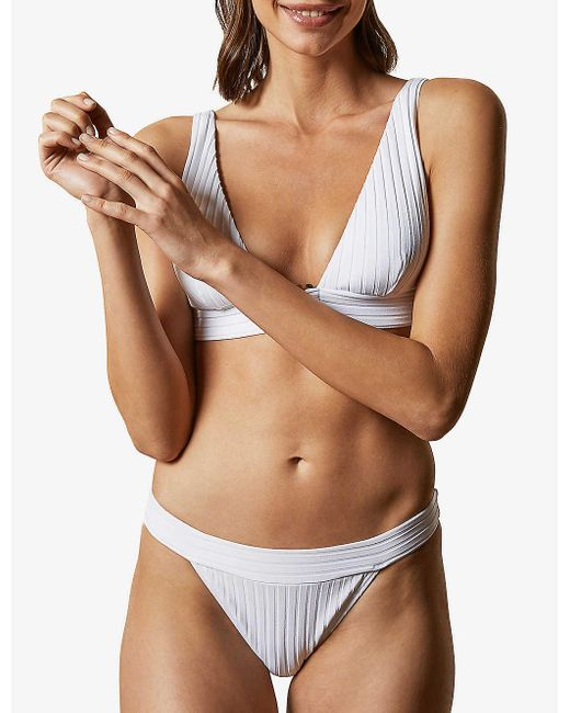 Ted Baker Yellow Cynthya Textured Low-rise Bikini Bottoms