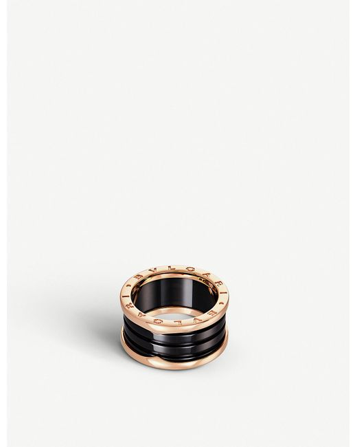 BVLGARI B.Zero1 18Ct Pink-Gold And Black-Ceramic Ring - For Women