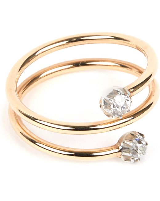 Annina Vogel | Metallic 9 Carat Gold And Diamond Toi Et Moi Ring | Lyst
