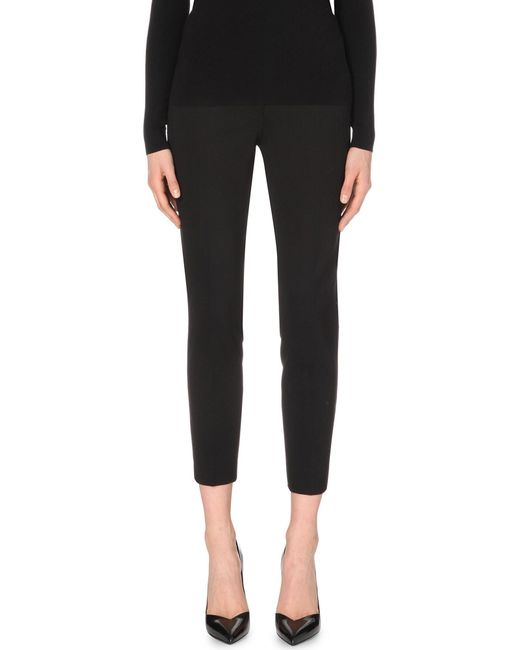 Max Mara - Black Pegno Slim-leg Cropped Trousers - Lyst