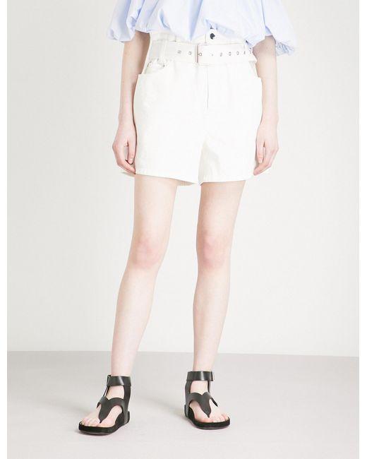 3.1 Phillip Lim - White Belted High-rise Denim Shorts - Lyst