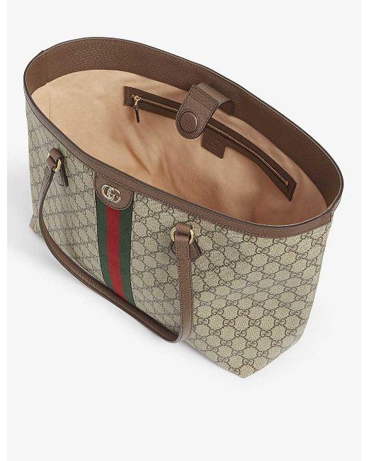 Gucci Natural Ophidia Medium GG Supreme Canvas Tote Bag