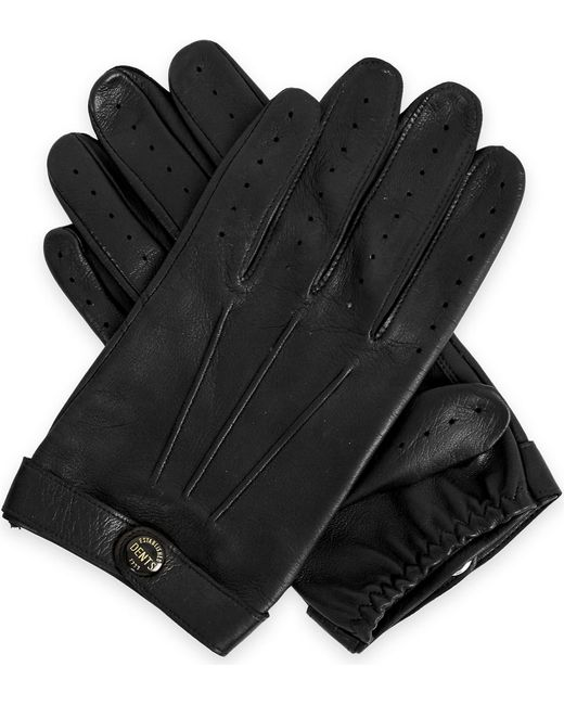Dents Mens Black Fleming Leather Driving Gloves for men