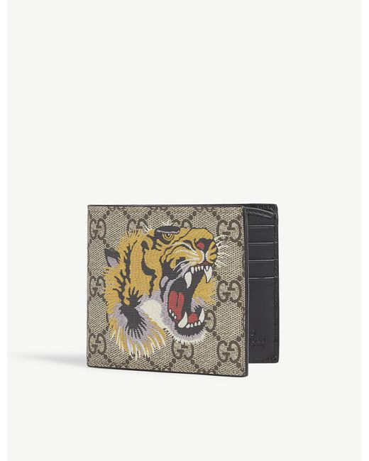 Gucci - Natural Supreme Bee Leather Billfold Wallet for Men - Lyst