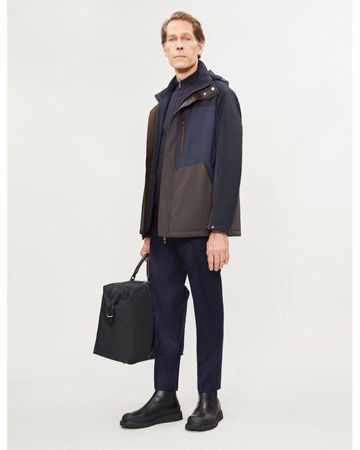 Ermenegildo Zegna Blue Panelled Padded Wool Hooded Jacket for men